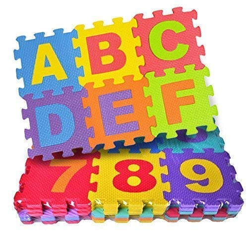 Hinik Corporation Alphabet Puzzle Mat ABC + Numbers 0 to 9 Flooring Mat Kids Learn & Play with Interlocking Mini Puzzle Pieces,Bonus Fun Learning