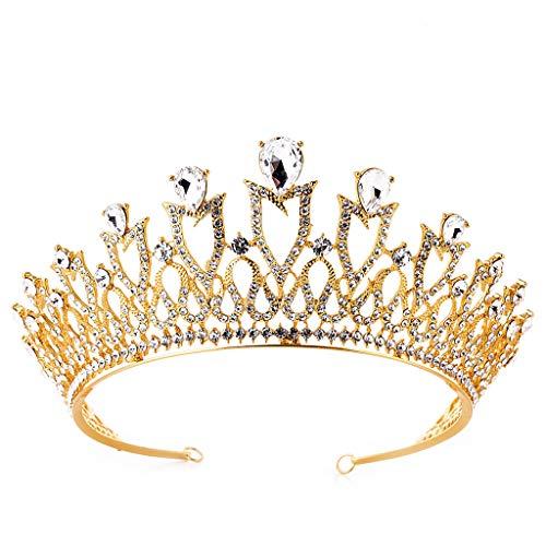 YQN-wedding Brautschmuck Europäischen und Amerikanischen Strass Legierung Crown Kopfschmuck Haarschmuck Hochzeitskleid Tiara Strass Brautkrone Hochzeit, Gold