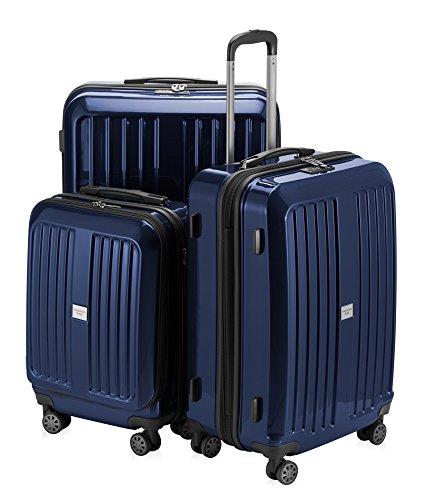 Hauptstadtkoffer X-Berg Juego de 3 Maletas Rígidas, TSA, (S, M & L), 235 Litros, Color Azul Oscuro Brillante