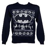 Offizielle Unisex Marineblau DC Heros Batman-Logo Fair Isle Weihnachts Pullover Sweatshirt (Large)