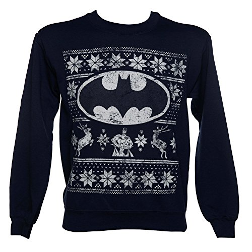 *Offizielle Unisex Marineblau DC Heros Batman-Logo Fair Isle Weihnachts Pullover Sweatshirt (Large)*