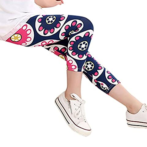 Girls Leggings, Keepwin Kids Floral Stretchy Dance Sport Cropped Capris Tights Pants (Hot Pink, 140)