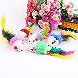 Sungpunet Juego de 5 piezas de juguetes para gatos y mascotas, diseño de ratón, piel sintética, con cola de plumas