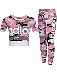 ZEE FASHION New Kids Girls Adios Camouflage Military Army Crop Top & Legging Age 7-13 Years