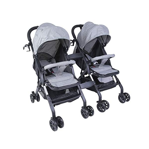 lyrlody Baby Stroller,Lightweight Twin Pushchair Detachable Double Stroller Multifunction Folding Anti-Shock Pram with Baby Cup Holder for Babies Toddlers Children Kids Grey lyrlody LIGHTWEIGHT DESIGN:2 in 1 design, can be detached and used separately.Shock resistant design can effectively prevent external shock and keep your baby's brain Durable:Made of aluminum alloy material, very sturdy.With the baby cup holder, it is convenient for your baby to drink water Very Convenient:Large capacity, can hold more items for children, such as diapers, clothes and bottles 2