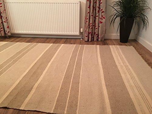 Gris y Blanco Triple rayas algodón & yute indio alfombra 150cm x 240cm