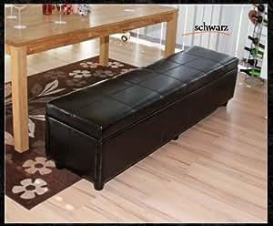 xxl sitzbank schwarz leder sitztruhe bank aufbewahrungstruhe truhe sitzhocker. Black Bedroom Furniture Sets. Home Design Ideas
