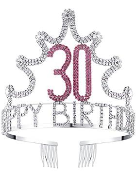 BABEYOND Rhinestone Cristal Cumpleaños Tiara Diadema Feliz Cumpleaños Corona Peine Pin 18/21/30/40/50/60 cumpleaños