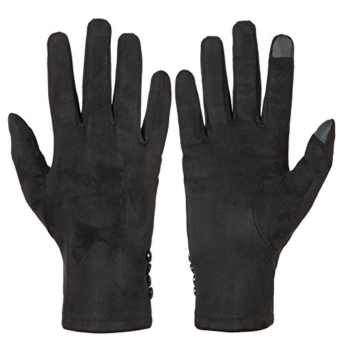 GLOUE Winterhandschuhe warme Handschuhe Damen Touchscreen Handschuhe Wildleder Bankett Radfahren Motorradfahren Innen Outdoor Trend Schwarz, Rot, Grau (Schwarz01)