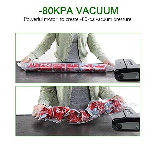 [Aktualisiert] Vakuumierer, Crenova VS100S – Vakuumiergerät für Nahrungsmittel, manuelle Pausenfunktion für brüchige Lebensmittel, +10 gratis Profi-Folienbeutel - 4