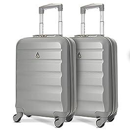 Aerolite ABS Trolley Bagaglio a Mano Valigia Rigida Leggera con 4 Ruote, Approvata per Ryanair, Easyjet, Alitalia…