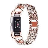 Für Fitbit Charge 2, Bandmax Zinklegierung Metall Armband mit Einlege-Kristall Gliederarmband Uhrenarmband Ersatzarmband Watch Band für Fitbit Charge 2, Rosegold