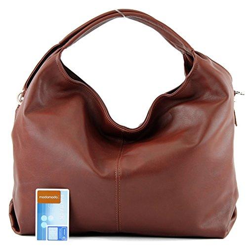 modamoda de - ital. Ledertasche Damenhandtasche Schultertasche Damentasche Nappaleder DS26 Kastanie