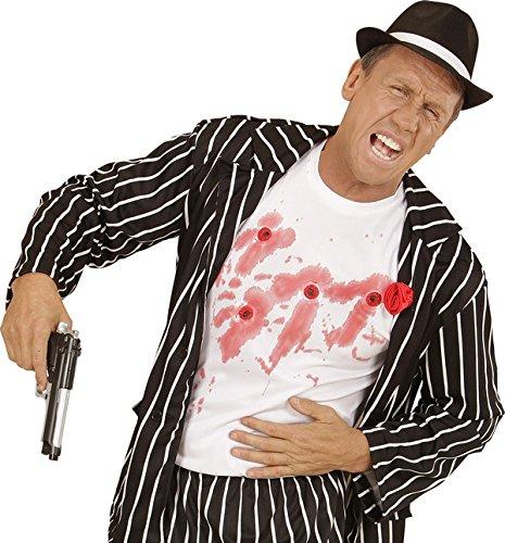 KULTFAKTOR GmbH Blutige Einschusslöcher Halloween T-Shirt Weiss-rot XL (Halloween Blutige T-shirt)