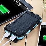 wasserdichte 10000mAh Solar Power Bank, Solar Ladegerät, Externer Akku mit superhelle Taschenlampe, Akku pack für Handy (schwarz-blau) - 5