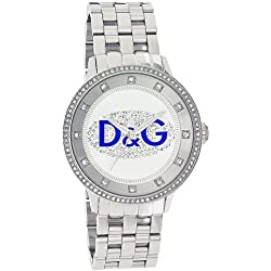 D&G Dolce&Gabbana Women's Quartz Watch with White Dial Analogue Display and Silver Stainless Steel Strap DW0133 D&G