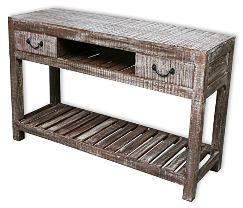 KMH®, India Konsolentisch/Sideboard im Shabby Chic/Vintage Style aus recyceltem Sheeshamholz gefertigt (#202206)