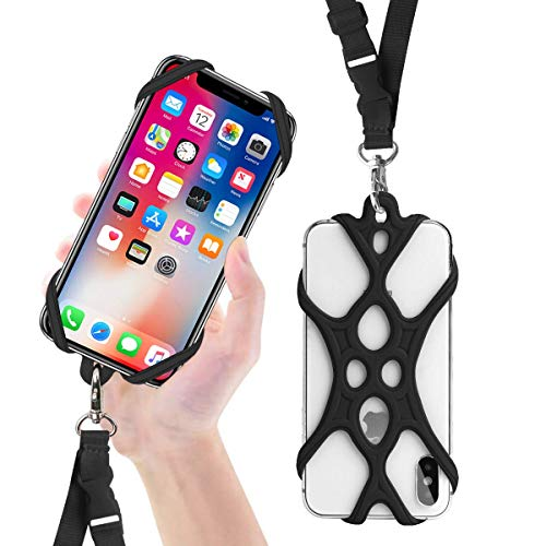 ROCONTRIP Handy Smartphone Telefon Lanyard Strap, Universal Fall Abdeckung Halter Lanyard Halskette Handschlaufe mit ID Card Slot für iPhone X 8 7 6 S 6 Plus Galaxy S7 S6 Huawei P10 P9 (Neu Schwarz) Plus-handy-fall