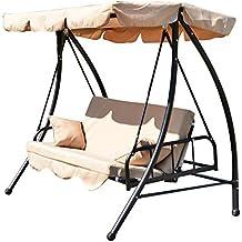 outsunny columpio balancn de plazas convertible en cama para jardn terraza patio o aire libre