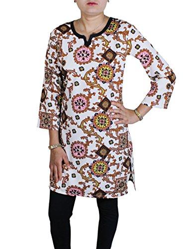 Donna sportiva accoppiamento libero stampato indiano tunica camicetta superiore maglietta vestiti india -XL