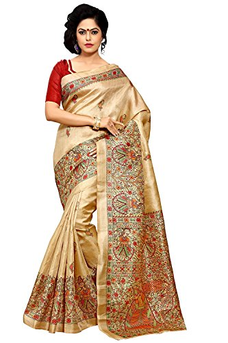 Tagline Women\'s Cotton Art Silk Saree With Blouse Piece