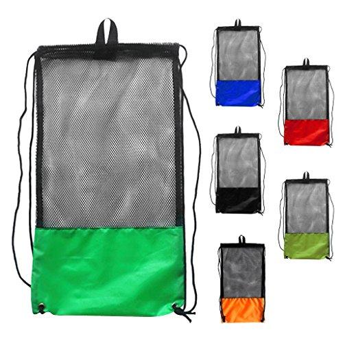 Sharplace Netzbeutel mit Schultergurt, Kordelzug Mesh Bag / Tauchtasche Schnorcheltasche Flossentasche / Sport Netztasche (6 Stück Packung)