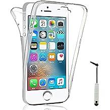 VCOMP® Coque Housse Silicone Gel TRANSPARENTE ultra mince 360° protection intégrale Avant et Arrière pour Apple iPhone 5/ 5S/ SE + mini stylet - TRANSPARENT