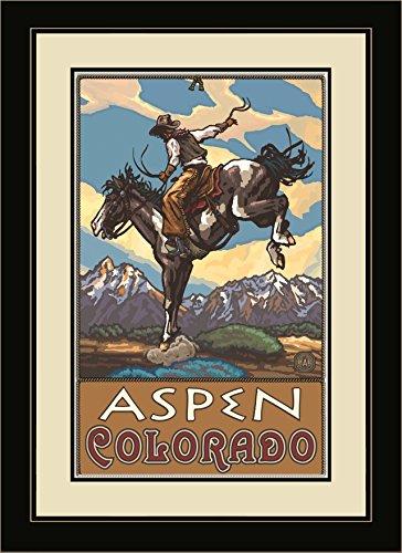 Northwest Art Mall pal-0816fgdm BHC Aspen Colorado Bucking Horse Cowboy gerahmtes Wandbild Art von Künstler Paul A. lanquist, 16by 22