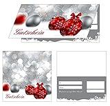 200 Geschenkgutscheine (Weihnachten-800) - Premium Geschenkgutscheine rote Gutscheine für die Weihnachtszeit vielseitige einsetzbar, 4-seitig als Klappkarten, ein super Produkt für Ihre Kunden Gutscheine Gutscheinkarten
