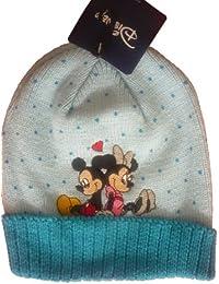 """Bonnet Bleu Clair Mickey Mouse et Minnie Mouse """"En Amour"""", Image Brodée - Marchandise certifiée Disney"""