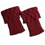 TININNA Frauen Winter Vintage Pastille Muster Strick Stulpen Gestrickt Beinstulpen Beinwärmer Strümpfe für Damen Tiefrot