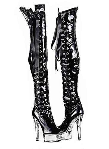 Fashion Overknee Stiefel Damen Schuhe High Heels Stiletto Plateau 0063 Grau 38