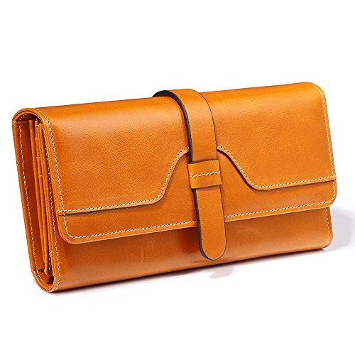 Damen Geldbörse, Gewachstes Echtleder, RFID Schutz
