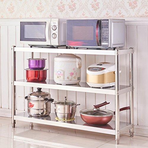 HWF Etagères de cuisine Étagères en étagère à étagères Étagère en cuisine en acier inoxydable 3 couches Four à micro-ondes Finition Équipement de rangement pour vaisselle (taille : 100 * 100 * 45cm)