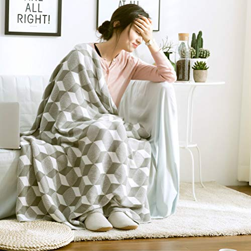 YIWANGO Nimen Nordic Simple Geometric Jacquard Knit Blanket Coton Nap Robe Photography Props Sofa Blank Blank,A2