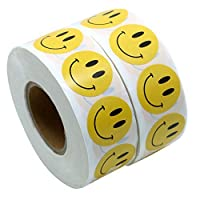 """Yellow Smiley Face Happy Stickers 1"""" Inch Round Circle Teacher Labels 1,000"""