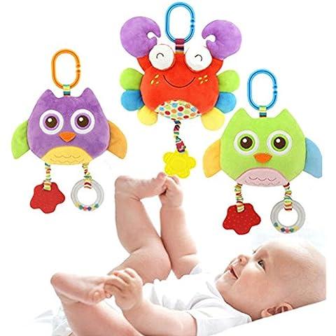 Goldore Baby Peluche Passeggino culla letto sospeso Presepe mobile morbide Owl granchio Teether sconcerta i giocattoli, 3 pz