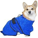 TFENG Mikrofaser Hunde Bademantel, Schnelltrocknende Wasserabweisende Hundebademantel, Weiche Trocknen Handtuch Badetuch für Katzen (Größe XS)