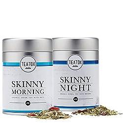 TEATOX Skinny Teatox 14 Tage Programm, Morning und Night , Bio Grüntee mit Mate und Bio Kräutertee mit Rooibos, Dosen