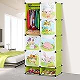 MENA Einfache Kinder Cartoon Baby Kleiderschrank Aufbewahrungsschränke montiert Kleiderschrank Kunststoff-Harz-Zusammensetzung ( farbe : Grün Obst )