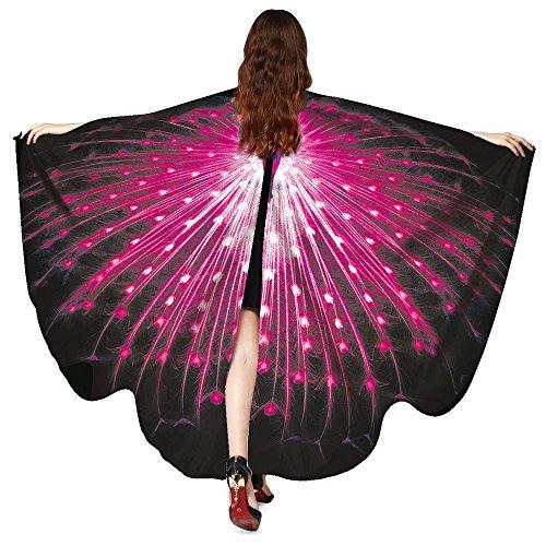 Lazzboy Kostüm Zubehör Frauen Pfau Flügel Schal Schals Damen Nymphe Pixie Poncho (M,Rosa)