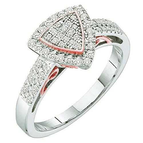 t 10 Karat Weiß & Rose Gold Diamant Damen Two Tone Micro Pave Verlobungsring ()