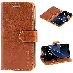 Mulbess Handyhülle für Samsung Galaxy S7 Hülle, Leder Flip Case Schutzhülle für Samsung Galaxy S7 Tasche, Cognac Braun