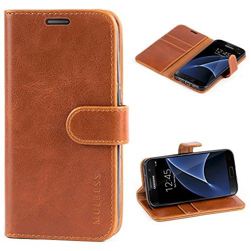 Mulbess Handyhülle Samsung Galaxy S7 Hülle Leder, [Ledertasche mit BookStyle] Flip Case Tasche Etui Schutzhülle für Samsung S7 Hülle Leder, Cognac Braun