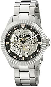 Stuhrling Original Diadem Men's Mechanical Watch with Black Dial Analogue Display and Silver Stainless Steel Bracelet 110.33111