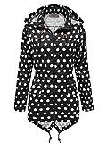 SS7 Damen schwarz & weiß gepunktet Regenmantel festival-jacke,sizes 8 to 16 - schwarz mit weißen Punkten, 38