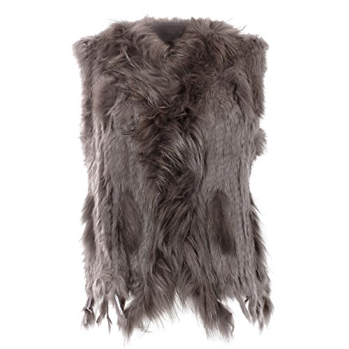 Glamexx24 Gilet in pelliccia di coniglio da donna, elegante giacca senza manica per signore GrigioMarrone