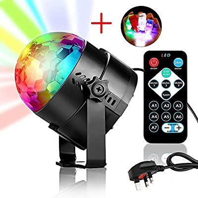 Mini LED Disco Lights, YANX 3W RGB Stage Light Rotating Strobe Light Sound Activated DJ Lights Crystal Magic Disco Ball Light Party Lights with Remote Control and 4-color Finger Light Toy
