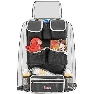 Auto Rücksitz-Organizer, EZOWare KFZ Rücksitztasche Utensilientasche Aufbewahrungstasche universell passend – Schwarz / Grau