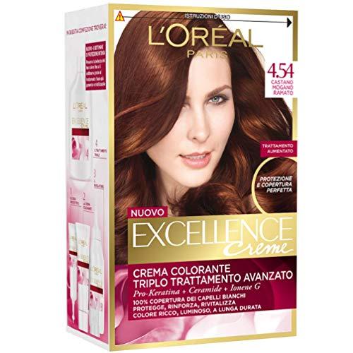 L'oréal paris excellence creme, tinta colorante con triplo trattamento avanzato, copre i capelli bianchi, 4.54 castano mogano ramato